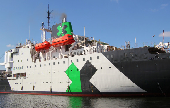 Specialists oversee major refit of ship set to become floating racing hub image